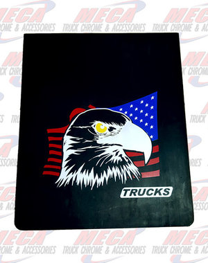 REAR MUDFLAP BLACK RUBBER 24X30 W/ EAGLE RIGHT SIDE