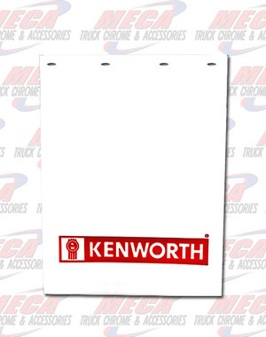 REAR MUDFLAP WHITE PLASTIC 24X30 W/ RED KW NAME