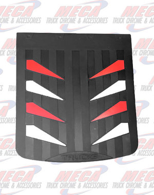 REAR MUDFLAP RUBBER BLACK 24X30 W/ RED & WHITE SAILS