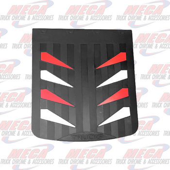 MUDFLAP RUBBER BLACK 24X30 W/ RED & WHITE SAILS