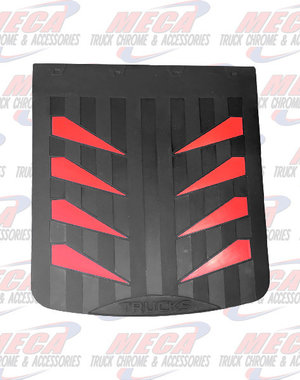REAR MUDFLAP RUBBER BLACK 24X30 W/ RED SAILS
