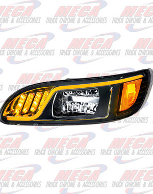 FRONT HEADLIGHT HOUSING PB 386/387 DRIVER 100% LED BLACK