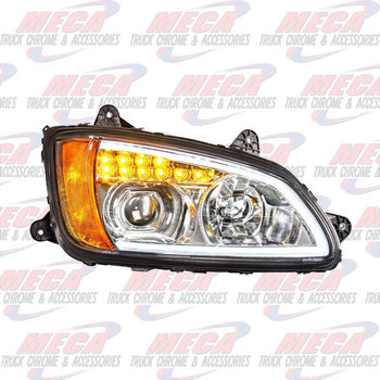 HEADLIGHT ASSEMBLY KW T660 T700 PASSENGER CHROME PROJECTOR