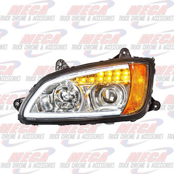HEADLIGHT ASSEMBLY KW T660 T700 DRIVER CHROME PROJECTOR