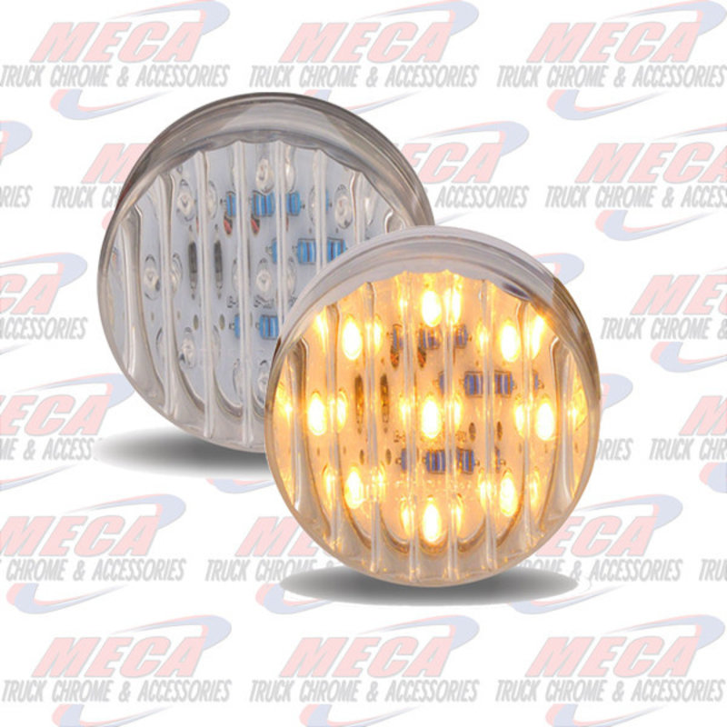 "2"" LED AMBER CLEAR 9 DIODES MARKER LIGHT RIBBED"