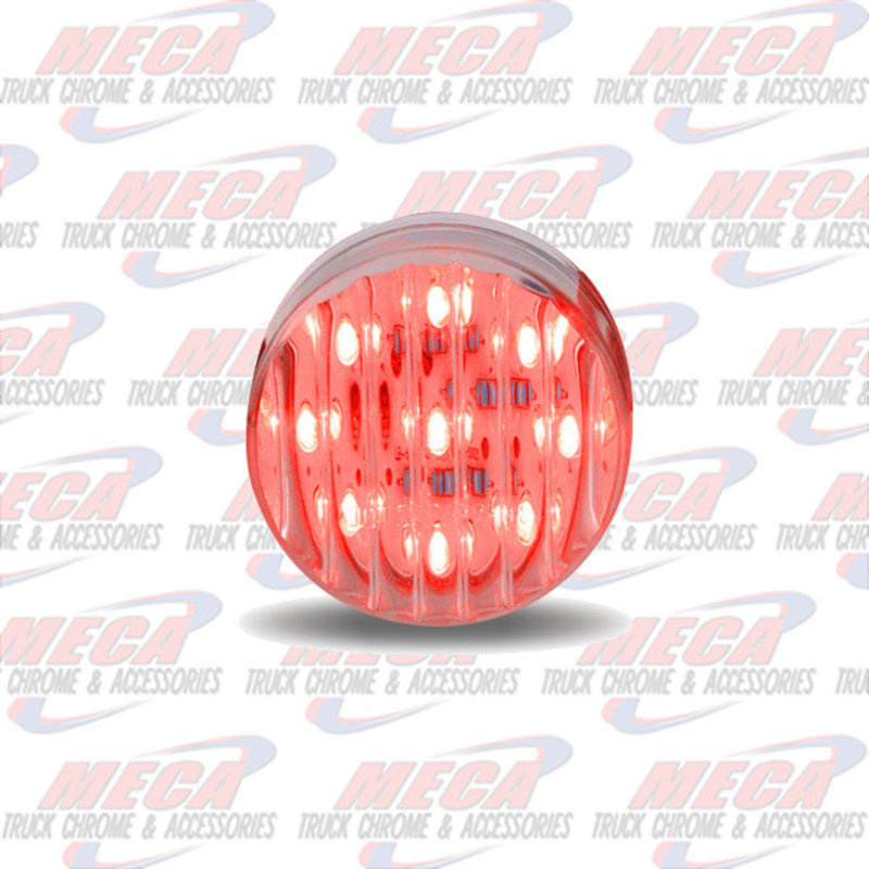 2'' LED CLEAR RED 9 DIODES MARKER LIGHT RIBBED