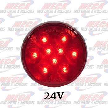 LED 4'' 12 / 24 VOLT RED ROUND