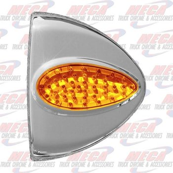 CORNER TURN SIGNAL COVER PB W/ LIGHT AMBER 39 LED