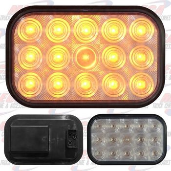 LIGHT LED SQUARE CLEAR AMBER W/ 15 DIODES