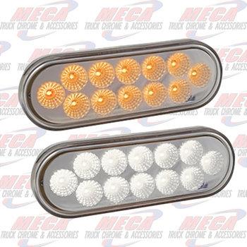 LED LIGHT OVAL AMBER & WHITE FOR TURN & SPOT