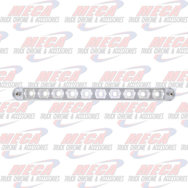 "MARKER LIGHTS 10 LED 9"" LIGHT BAR WHITE W/ CHROME PLASTIC BEZEL"