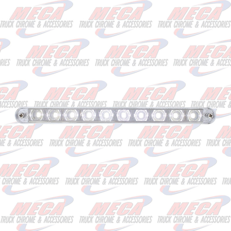 "10 LED 9"" LIGHT BAR WHITE W/ CHROME PLASTIC BEZEL"