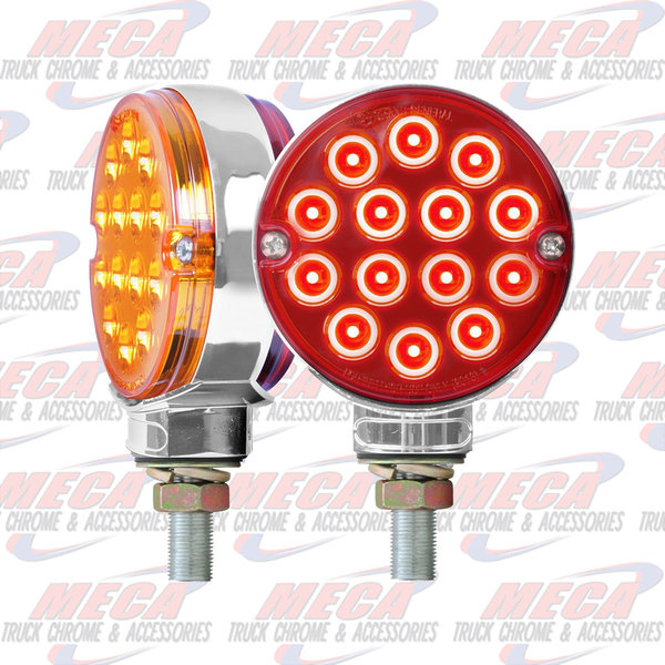 "MARKER LIGHTS 3"" PEARL DOUBLE FACE AMBER/RED 14 LED/SIDE TWIN PA"