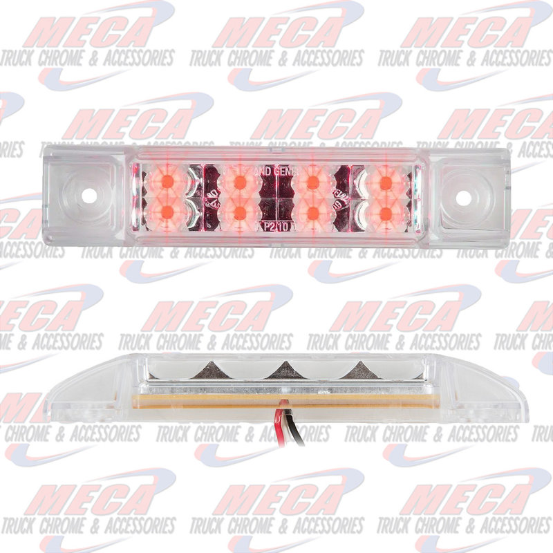 "6""L RECT. PEARL RED/CLR 8 LED LGT HIGH/LOW 3 WIRES"