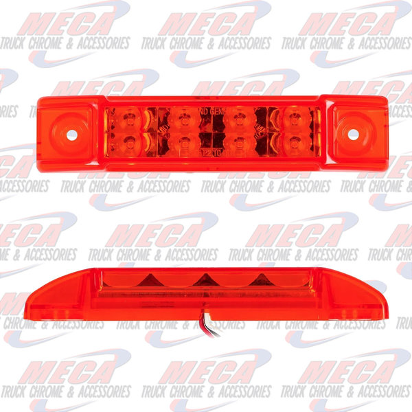 """MARKER LIGHTS 6""""L RECT. PEARL RED/RED 8 LED LGT HIGH/LOW 3 WIRES"""