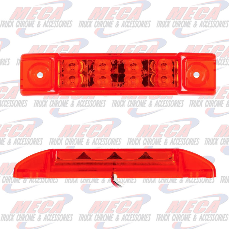 """6""""L RECT. PEARL RED/RED 8 LED LGT HIGH/LOW 3 WIRES"""