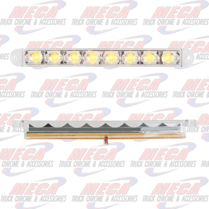 6-1/2 PEARL AMB/CLEAR 8 LED LIGHTBAR 3 WIRES
