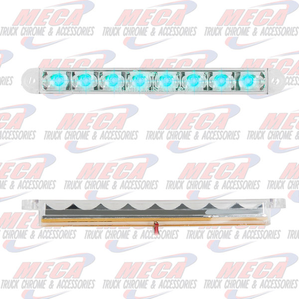 MARKER LIGHTS 6-1/2 PEARL BLUE/CLEAR 8 LED LIGHTBAR 3 WIRES