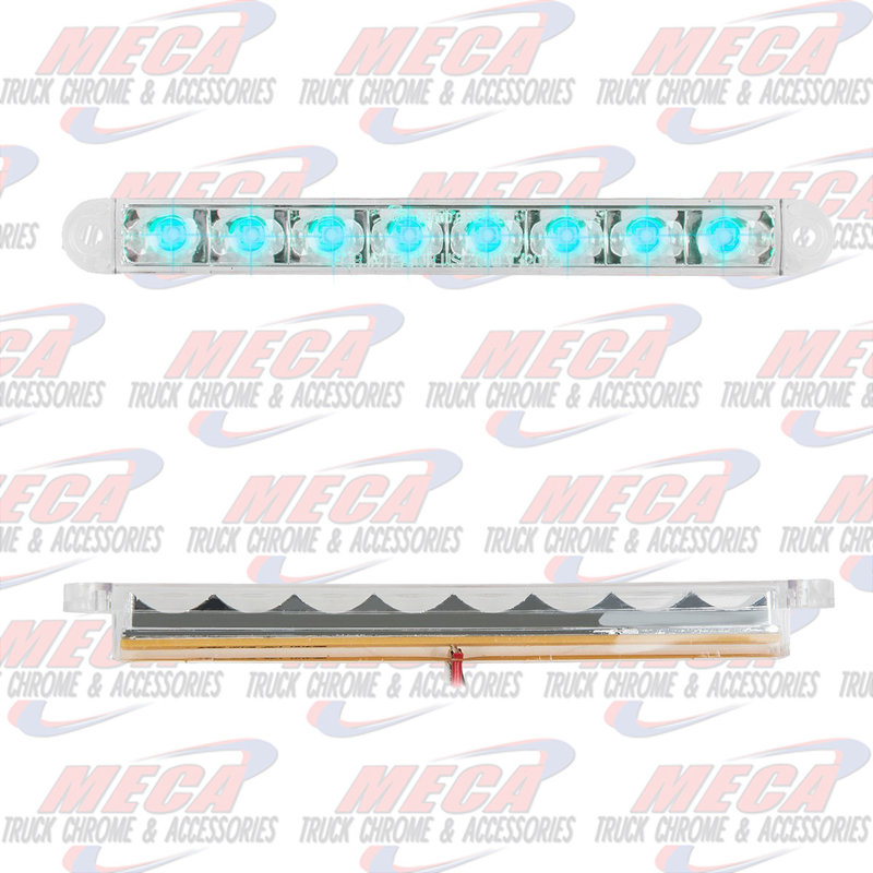 6-1/2 PEARL BLUE/CLEAR 8 LED LIGHTBAR 3 WIRES