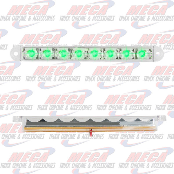 MARKER LIGHTS 6-1/2 PEARL GRN/CLEAR 8 LED LIGHTBAR 3 WIRES