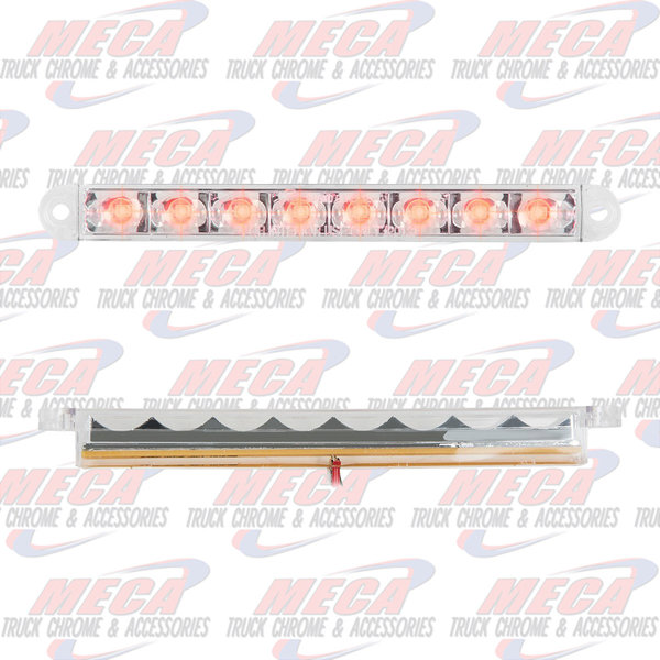 MARKER LIGHTS 6-1/2 PEARL RED/CLEAR 8 LED LIGHTBAR 3 WIRES