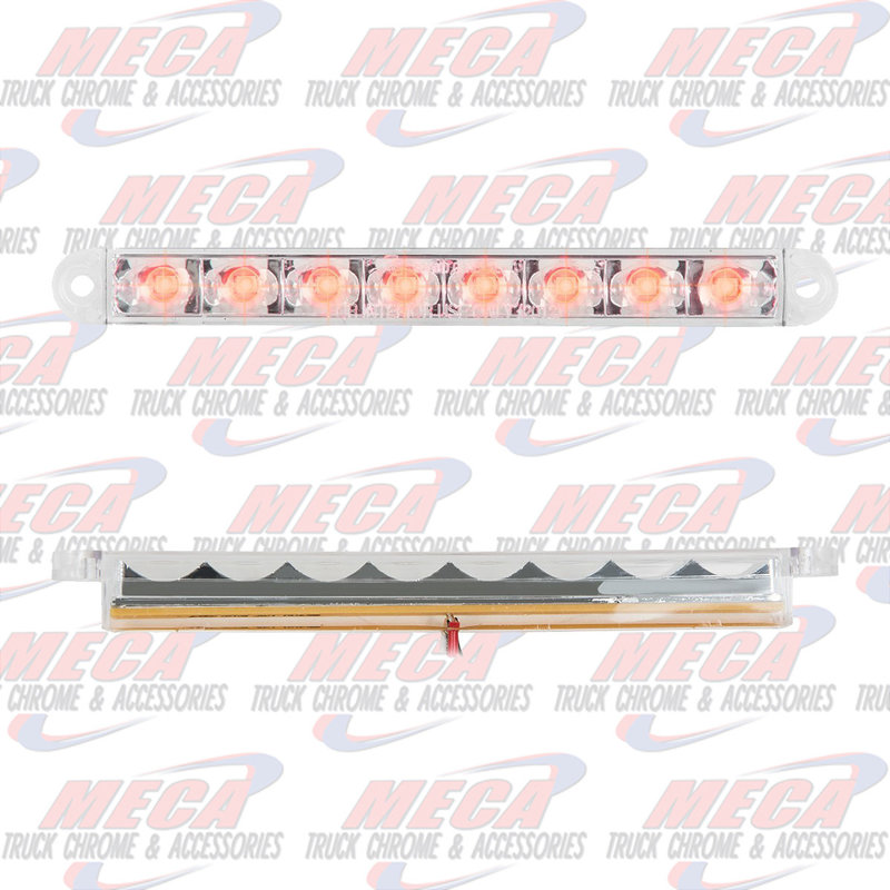 6-1/2 PEARL RED/CLEAR 8 LED LIGHTBAR 3 WIRES