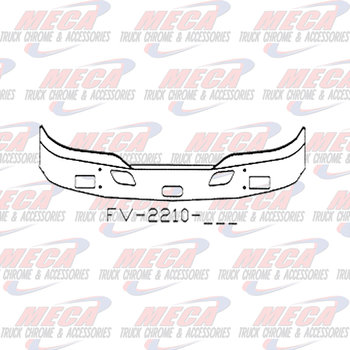 VALLEY CHROME BUMPER KW T680 16'' W/ FOG, TOW, & STEP HOLES