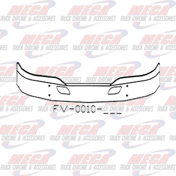 VALLEY CHROME BUMPER KW T680 16'' W/ TOW HOLES & RADAR HOLE
