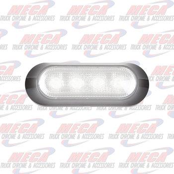 MAXXIMA Ultra Thin Low Profile 4 LED White Clear Lens Warning Surface Mount Black Bezel