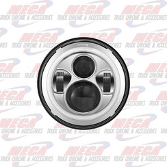 """HEADLIGHT LED 7"""" ROUND CHROME W/ PROJECTORS HIGH/LOW DOT COMPLIANT"""