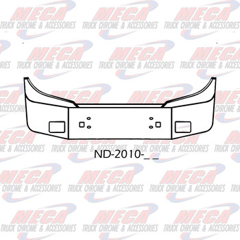 VALLEY CHROME BUMPER SETBACK 20'' FORD STERLING W/ FOG, TOW  3 PC BUMPER