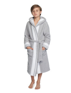 BAREFOOT DREAMS COZYCHIC ROBE KIDS STRIPED OCEAN & WHITE
