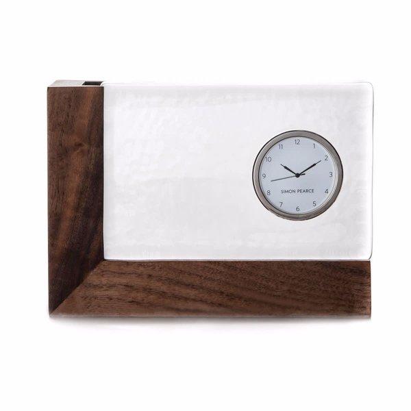 SIMON PEARCE LUDLOW CLOCK IN WOOD BASE