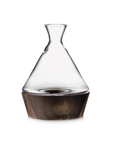 SIMON PEARCE LUDLOW WINE DECANTER IN WOOD BASE