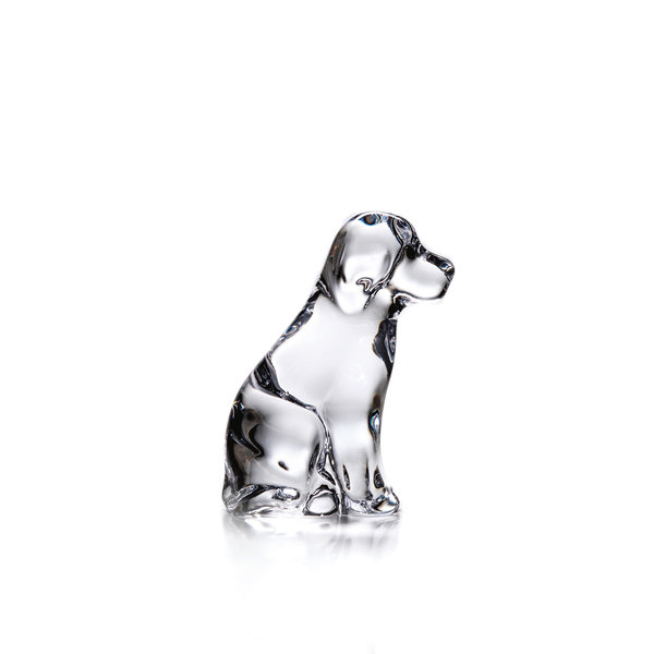 SIMON PEARCE DOG PAPERWEIGHT IN GIFT BOX