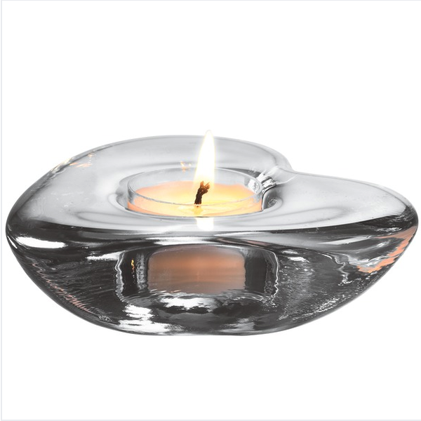 SIMON PEARCE HIGHGATE HEART TEALIGHT IN GIFT BOX, CLEAR
