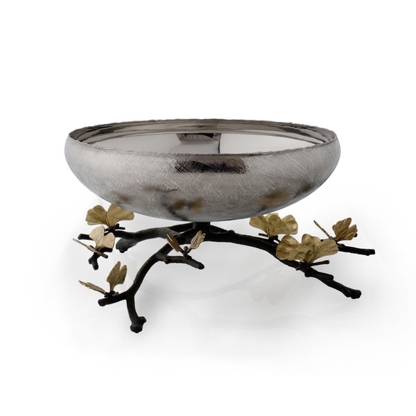 MICHAEL ARAM GINKGO BUTTERFLY FOOTED CENTERPIECE BOWL