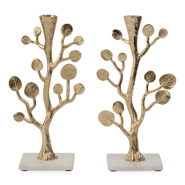 MICHAEL ARAM BOTANICAL LEAF CANDLEHOLDERS, GOLD SET OF 2