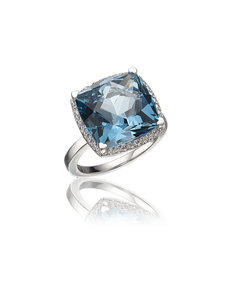 LISA NIK 18K WHITE GOLD RING WITH 13MM SQUARE CUT LONDON BLUE TOPAZ AND DIAMONDS