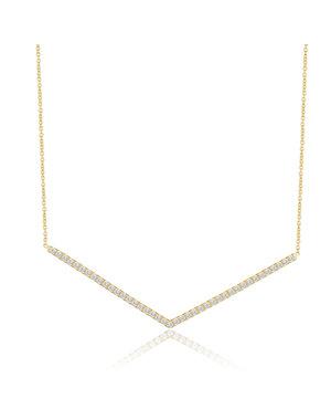 LISA NIK 18K YG CHEVRON NECKLACE WITH .40 CTS DIAMONDS
