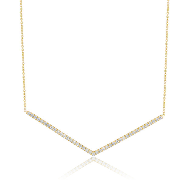 LISA NIK 18K YG CHEVRON NECKLACE WITH .40 CTS DIAMONDS