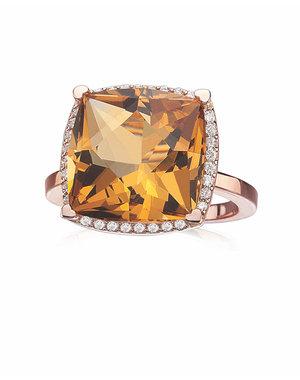 LISA NIK 18K ROSE GOLD 13MM CUSHION SHAPED CITRINE RING WITH .23 CTS DIAMONDS