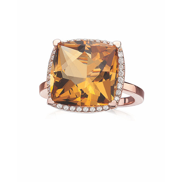 LISA NIK 18K ROSE GOLD 13MM CUSHION SHAPED CITRINE RING WITH .23 CTS DIAMONDS