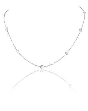 LISA NIK 18K WG 7 DIAMOND DOT NECKLACE WITH .84 CTS