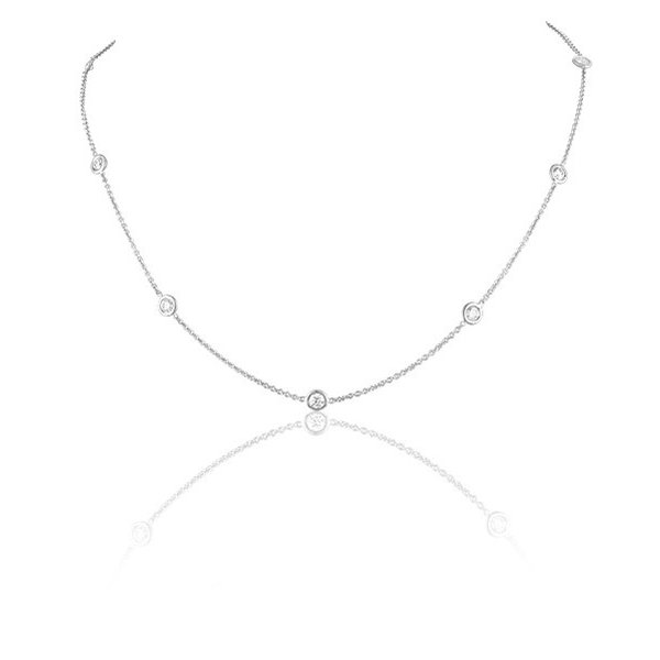 LISA NIK 18K WG 7 DIAMOND DOT NECKLACE WITH .84 CTS