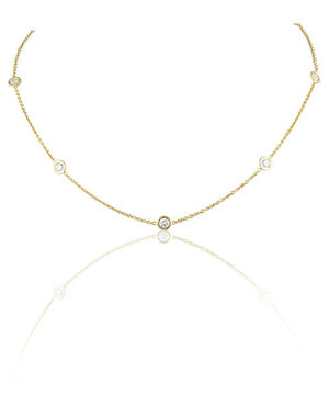 LISA NIK 18K YG 5 DIAMOND DOT NECKLACE WITH .60 CTS