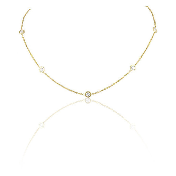 LISA NIK 18K YG 5 DIAMOND DOT NECKLACE WITH .60 CTS