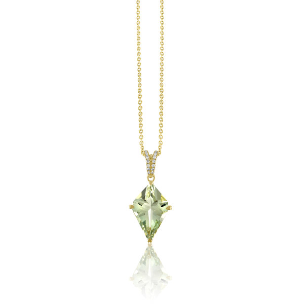 LISA NIK 18K YG GREEN QUARTZ KITE SHAPED PENDANT WITH .08 CTS DIAMONDS