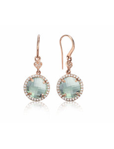 LISA NIK 18K ROSE GOLD 11MM GREEN QUARTZ ROUND EARRINGS WITH .50 CTS DIAMONDS