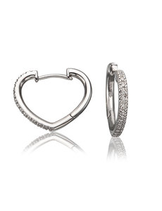LISA NIK 18K WHITE GOLD HEART SHAPED HOOP EARRINGS WITH .16 CTS DIAMONDS